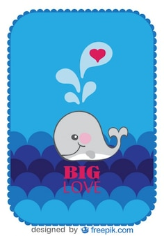 Vector Cartoon Whale Inlove