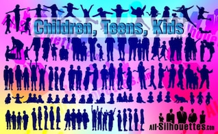 Vector Children, Kids, Teens,