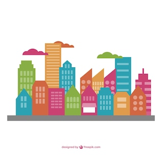 Vector cityscape flat illustration