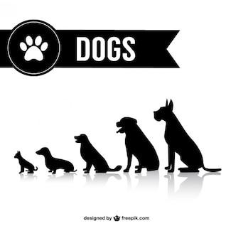 Vector dog shilouettes set