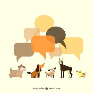 Vector dogs illustration speech bubbles