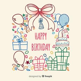 Vector doodle birthday card