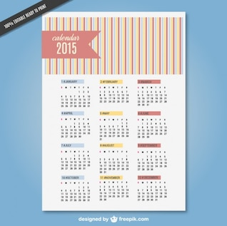 Vector editable 2015 calendar