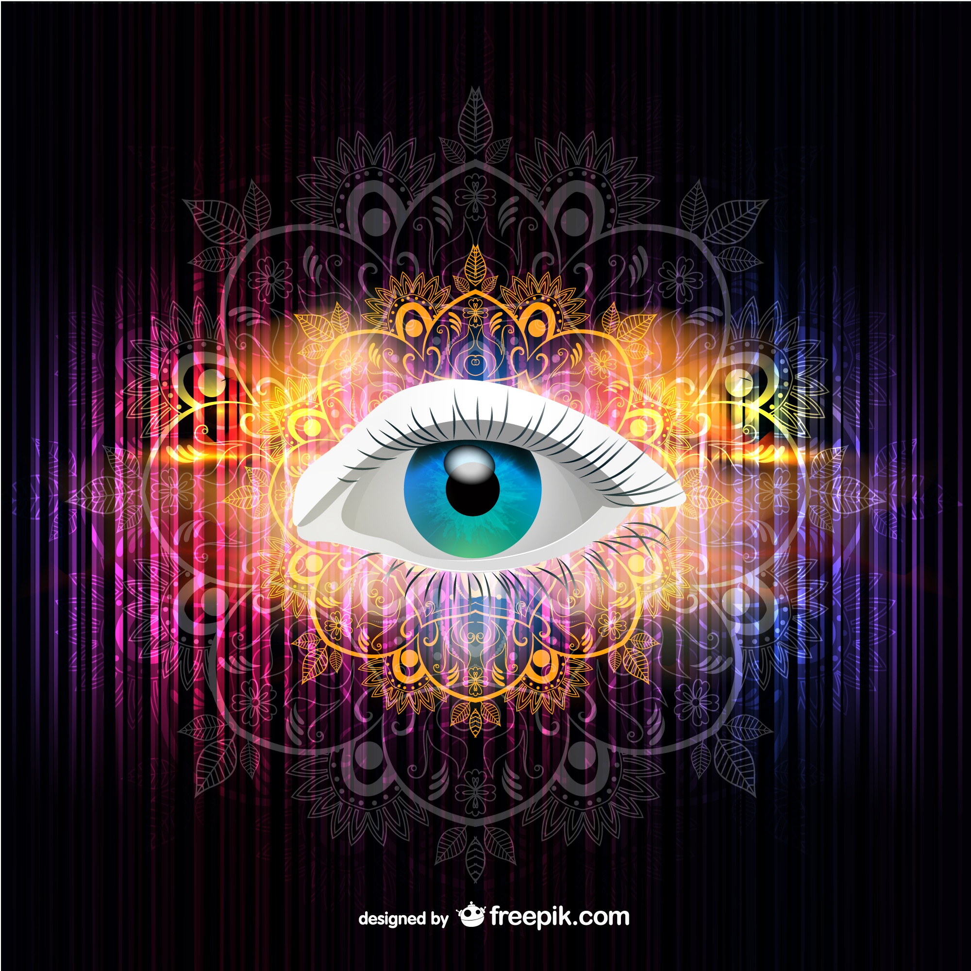 Vector eye illustration rainbow colors