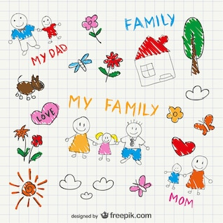 Vector family sketch drawing