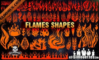 Vector Flame Shapes Silhouettes