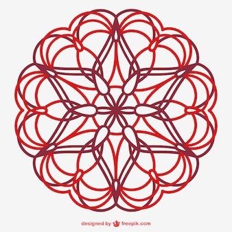 Vector floral line art ornament