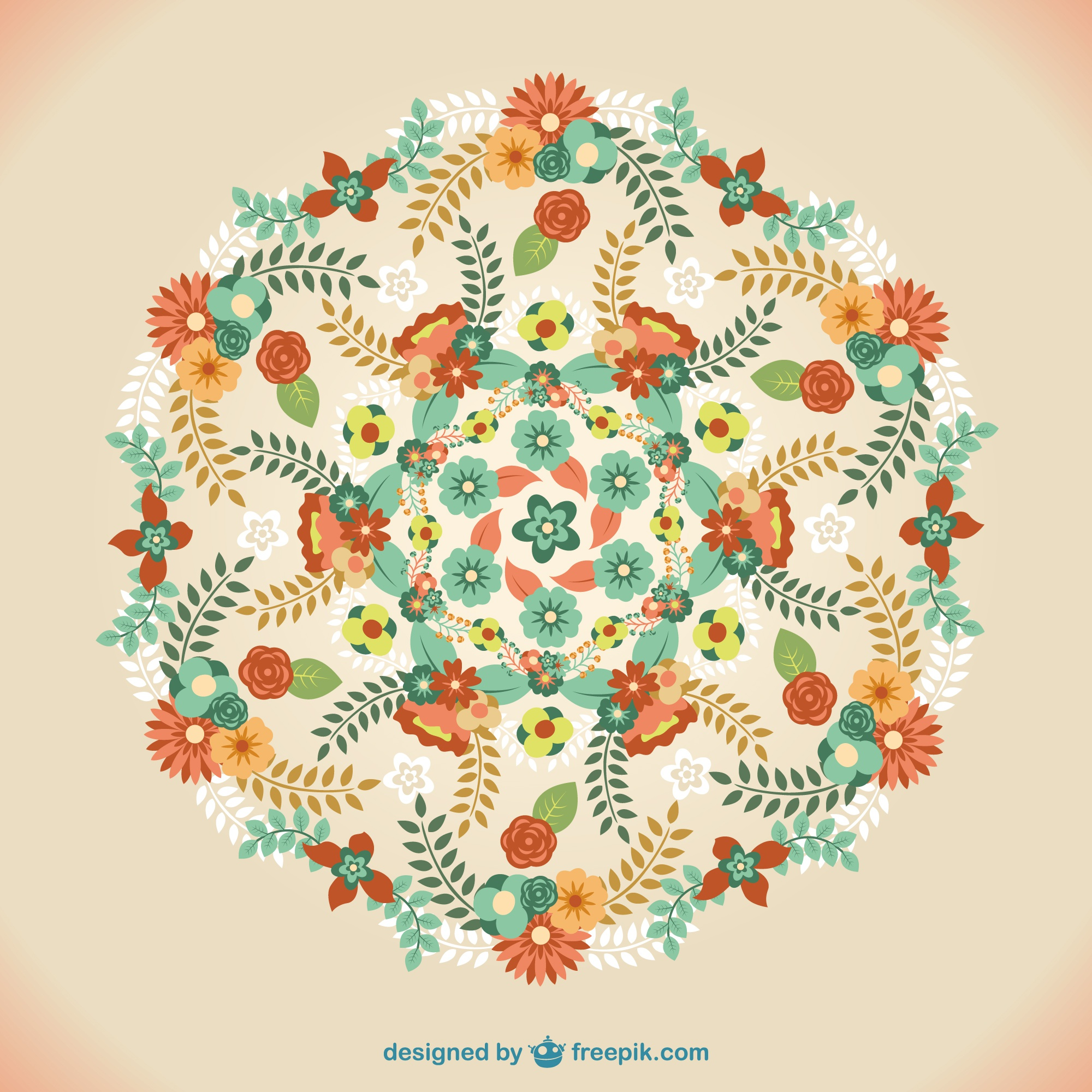 Vector floral mandala ornament