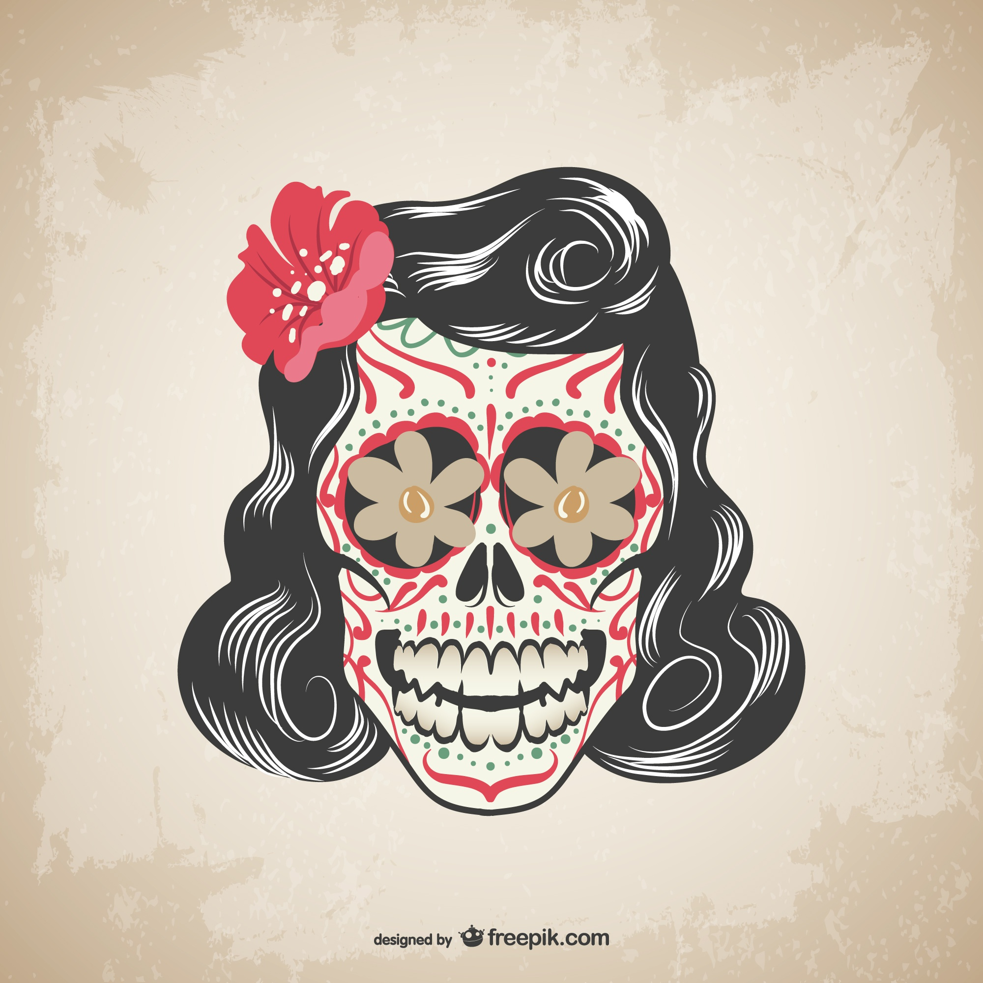 Vector floral skull tattoo