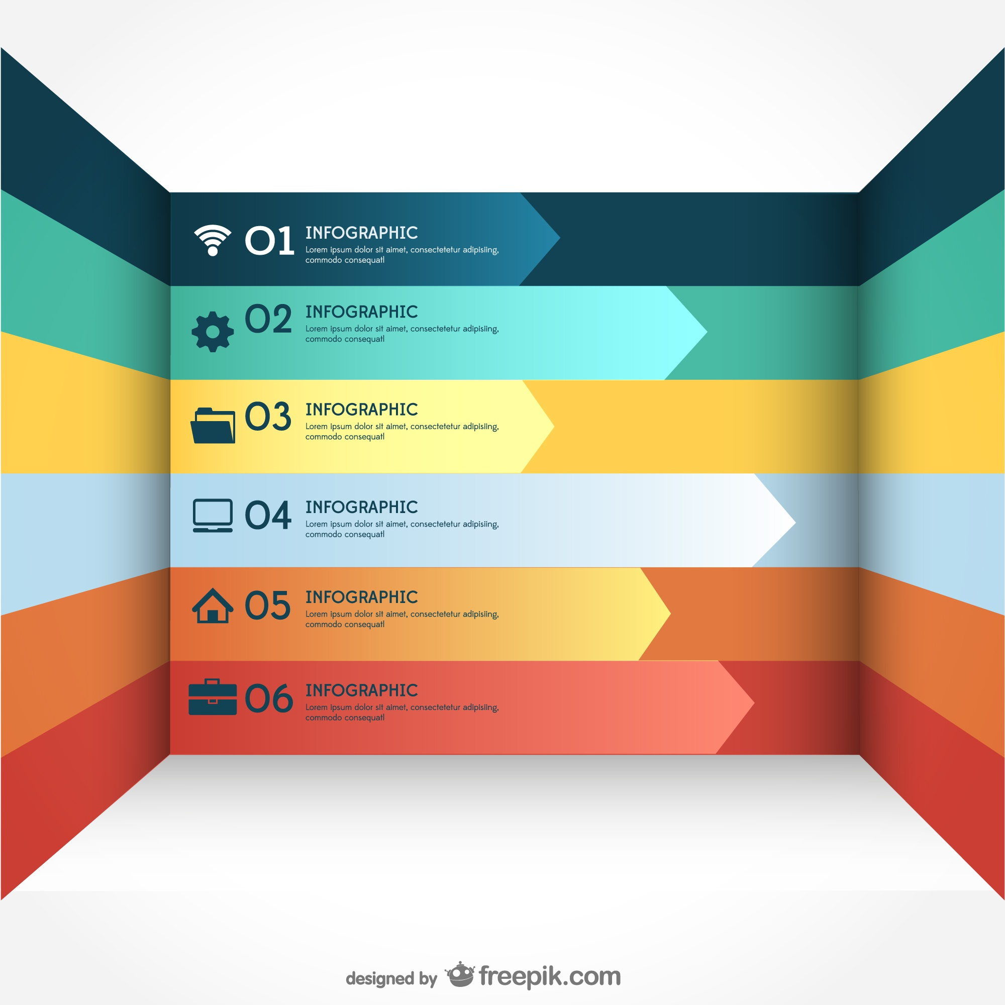 Vector free arrows infogaphy template