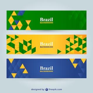 Vector geometric Brazil banners