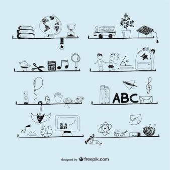 Vector ink doodles school concept