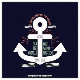 Vector marine anchors emblems set