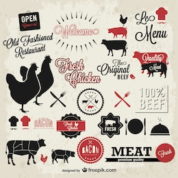 Vector meat vintage symbols set