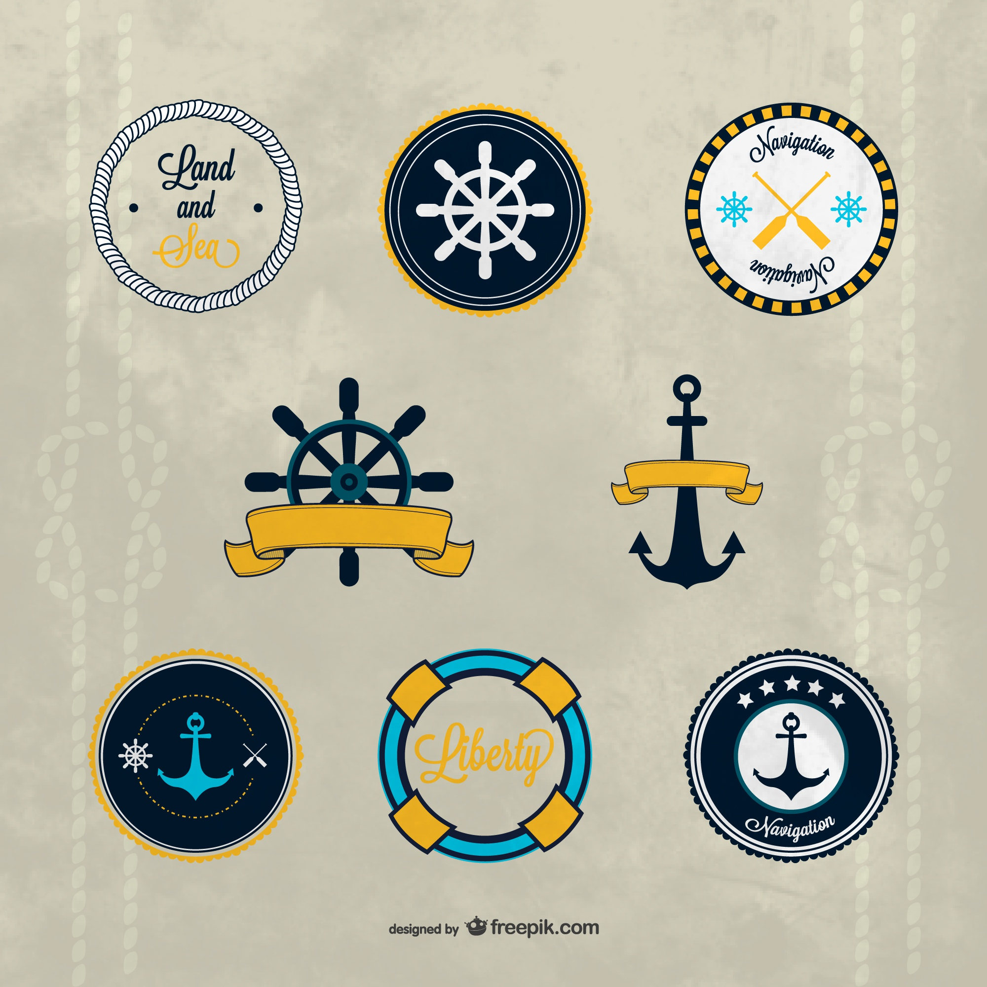 Vector nautical badges