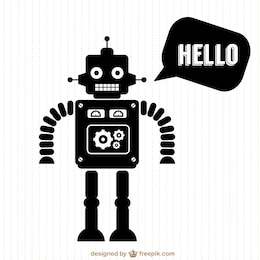 Vector robot free silhouette design