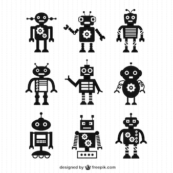 Vector robot silhouettes free for download