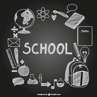 Vector school icons on chalkboard
