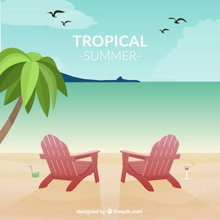 Vector seascape tropical fun card