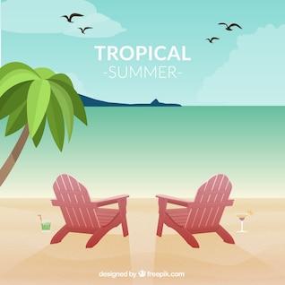 Vector seascape tropical fun card