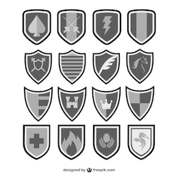 Vector shields black and white set