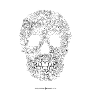 Vector skull floal illustration
