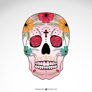 Vector skull floral illustration