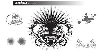 Vector Skull with Sunburst