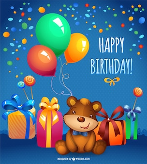 Vector teddy bear birthday card