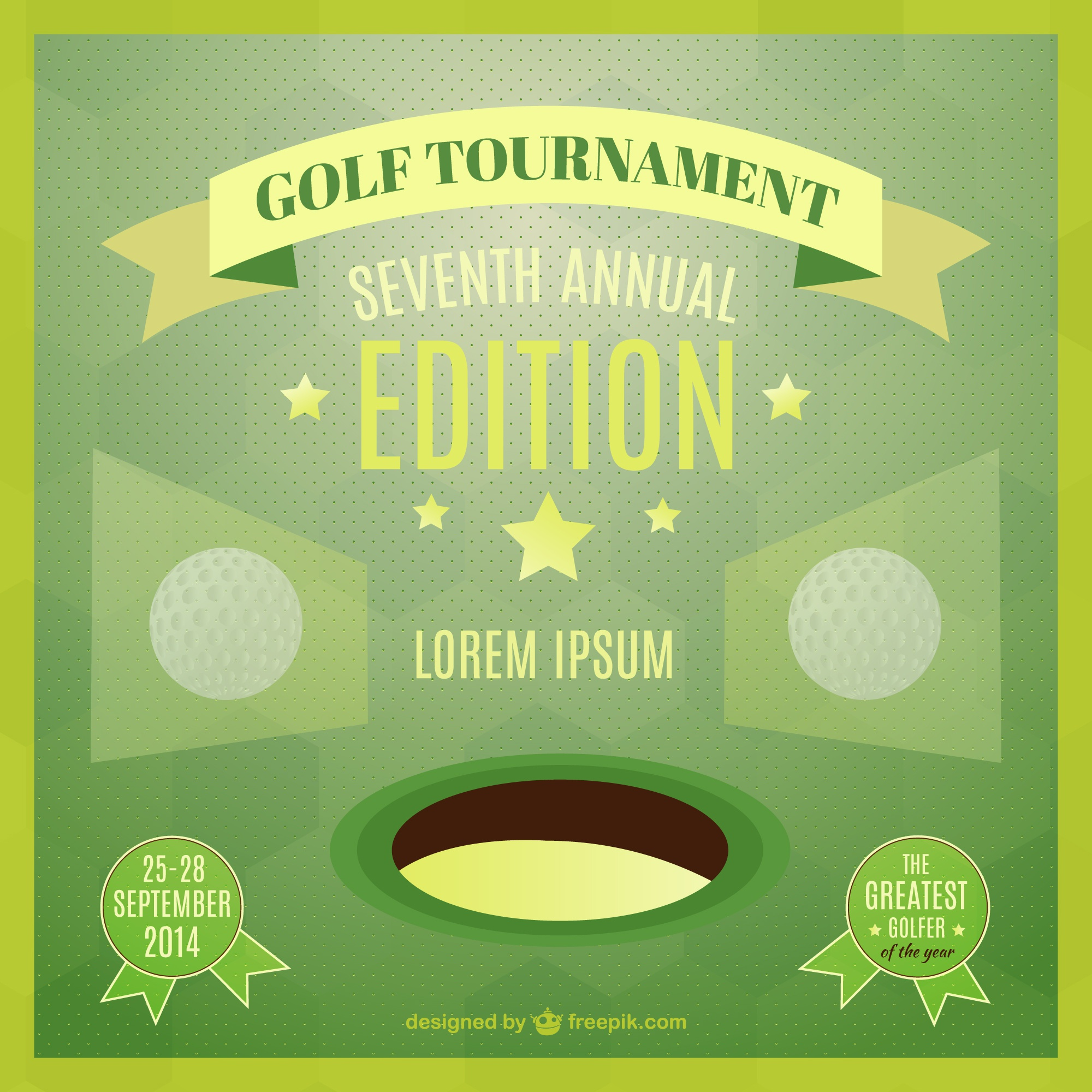 Vector template of golf tournament poster