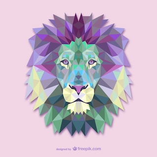Vector triangle lion illustration