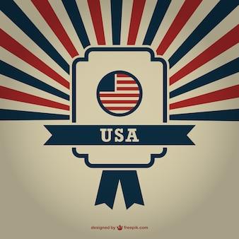 Vector USA badge sunburst background