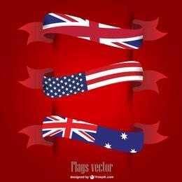 Vector USA UK flags