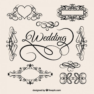 vector vintage wedding pattern elements