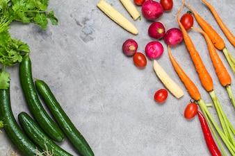 野菜と野菜の上面図