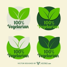 Vegetarian Leaf Silhouette Labels