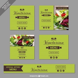 Vegetarian restaurant banner templates