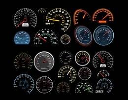 Vehicles Speedometer & Counters Vector