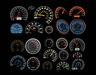 Vehicles Speedometer & Counters Vector