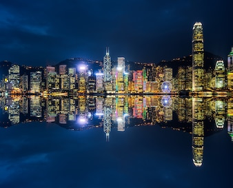 Victoria Harbour in Hongkong, skyscrapers, China