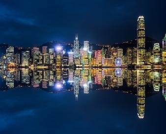 Victoria Harbour in Hongkong, skyscrapers, China