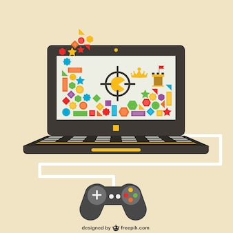 Videogames on laptop