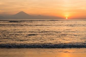 View at Bali island at sunset
