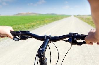 View mountainbike riding health man