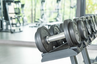 View of rows of dumbbells