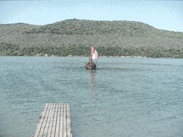 Viking boat moor to pier