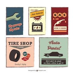 Vintage auto emblems vector set