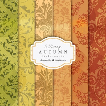 Vintage autumn backgrounds collection