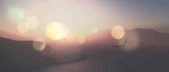 3Dは、ヴィンテージの効果で空気を通って飛ぶ鷲とワイドスクリーンの風景のレンダリング