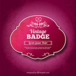Vintage badge in pink color